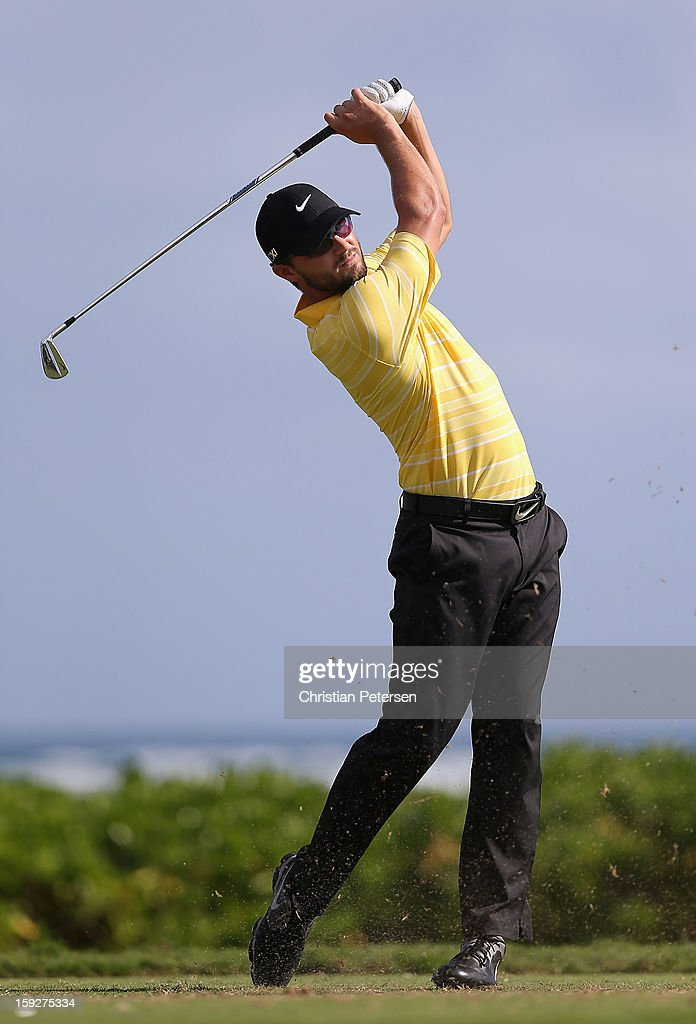 Kyle Stanley hits a tee shot on the 17th hole during the first round of the Sony Open in Hawaii at Waialae Country Club on January 10, 2013 in Honolulu, Hawaii.