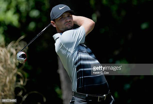 Kyle Stanley hits a tee shot on the second hole during the final round of the Wyndham Championship at Sedgefield Country Club on August 21 2016 in...