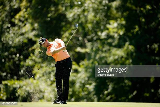 Kyle Stanley hits his approach shot on the sixth hole during the third round of the John Deere Classic at TPC Deere Run on July 15 2017 in Silvis...