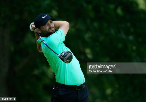 Kyle Stanley hits his drive on the eighth hole during the fourth and final round of the Quicken Loans National held at TPC Potomac at Avenel Farm on...
