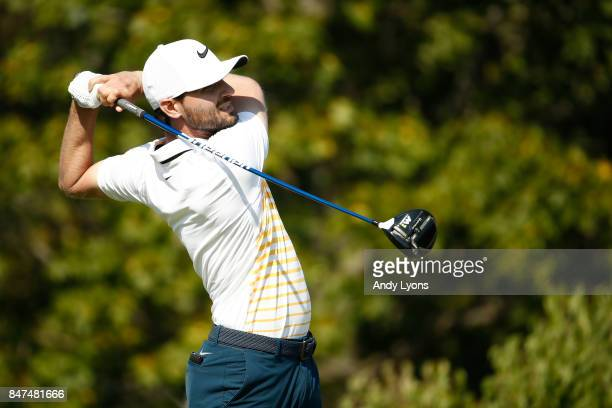 Kyle Stanley hits his tee shot on the fourth hole during the second round of the BMW Championship at Conway Farms Golf Club on September 15 2017 in...