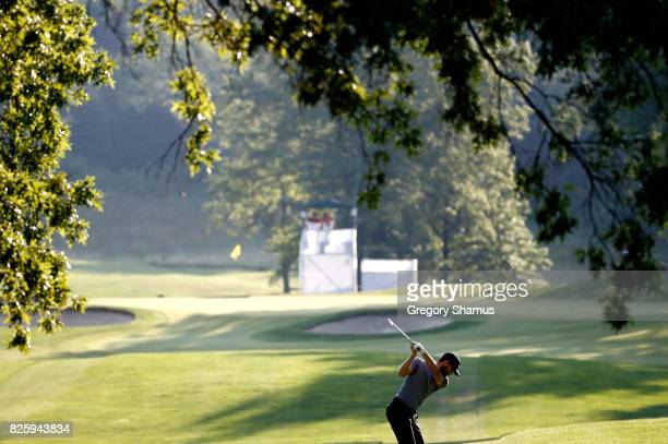 Kyle Stanley hits off the fifth tee during the first round of the World Golf Championships Bridgestone Invitational at Firestone Country Club South...
