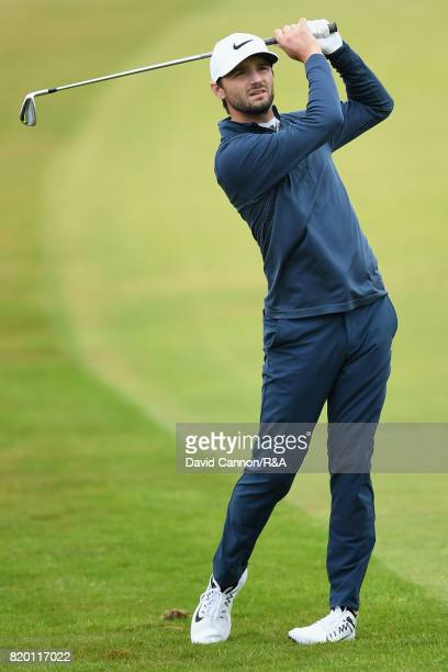 Kyle Stanley of the United States hits his second shot on the 2nd hole during the second round of the 146th Open Championship at Royal Birkdale on...