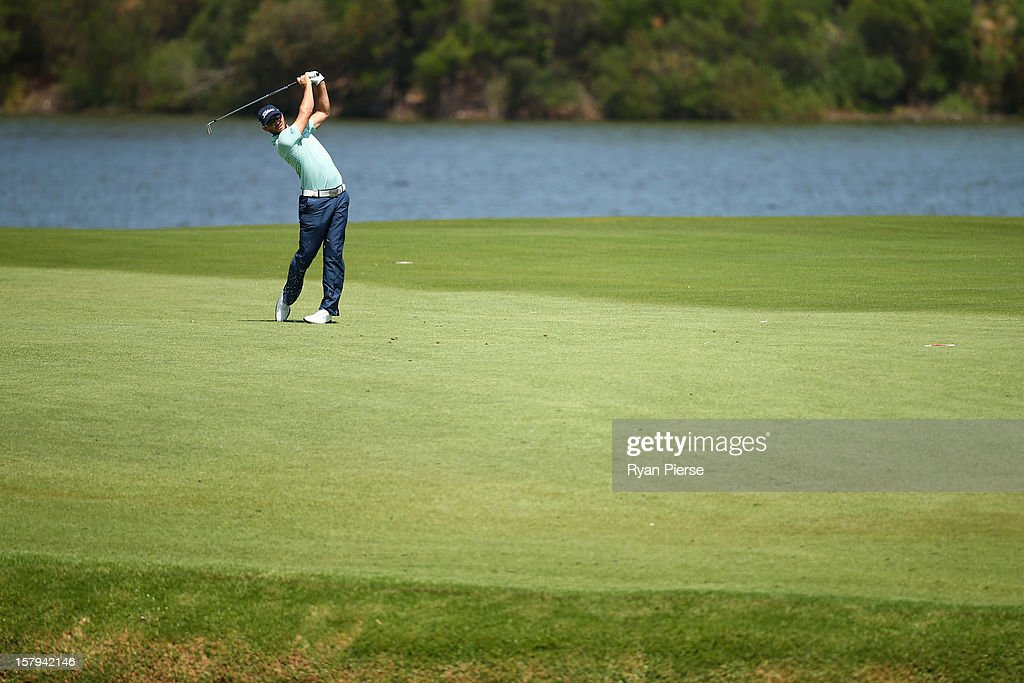 Kyle Stanley of the United States plays a fairway shot during round three of the 2012 Australian Open at The Lakes Golf Club on December 8, 2012 in Sydney, Australia.