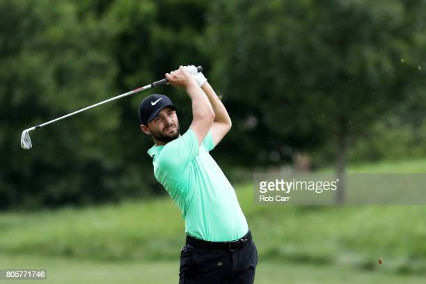 Kyle Stanley of the United States plays a shot on the 15th hole during the final round of the Quicken Loans National on July 2 2017 TPC Potomac in...