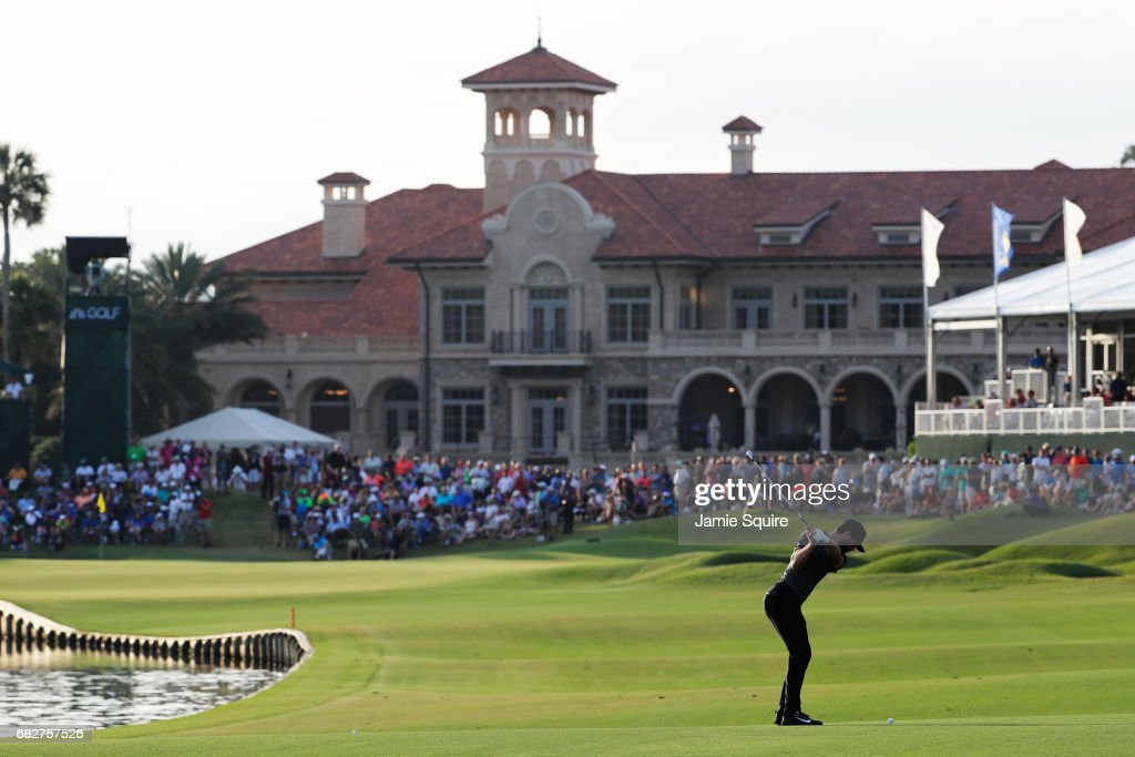 Kyle Stanley of the United States plays a shot on the 18th hole during the third round of THE PLAYERS Championship at the Stadium course at TPC Sawgrass on May 13, 2017 in Ponte Vedra Beach, Florida.