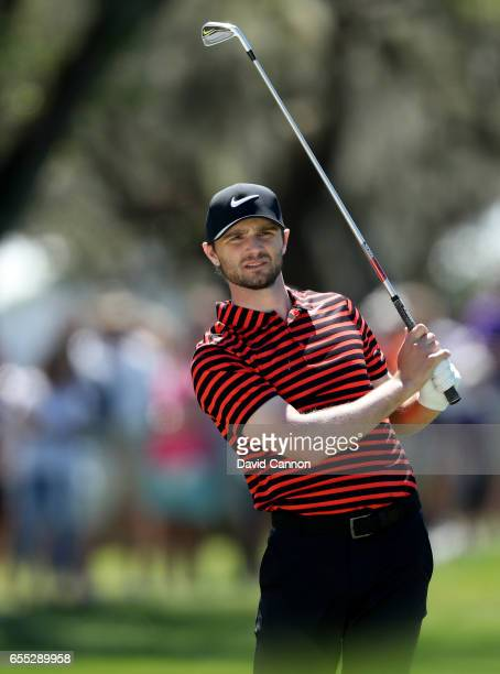 Kyle Stanley of the United States plays his second shot at the par 4 first hole during the final round of the 2017 Arnold Palmer Invitational...
