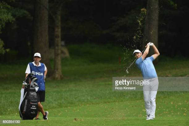 Kyle Stanley of the United States plays his second shot on the 11th hole during the second round of the 2017 PGA Championship at Quail Hollow Club on...