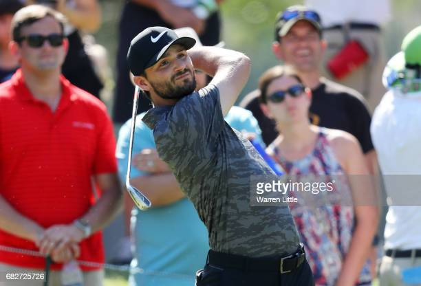Kyle Stanley of the United States plays his shot from the eighth tee during the third round of THE PLAYERS Championship at the Stadium course at TPC...