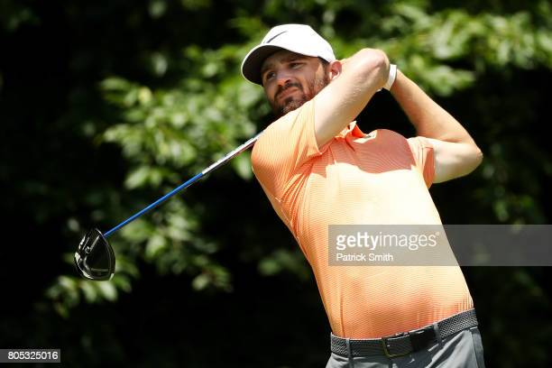 Kyle Stanley of the United States plays his shot from the eighth tee during the third round of the Quicken Loans National on July 1 2017 TPC Potomac...