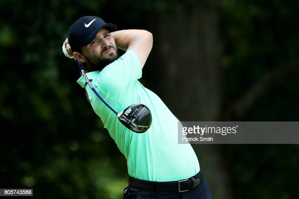Kyle Stanley of the United States plays his shot from the eighth tee during the final round of the Quicken Loans National on July 2 2017 TPC Potomac...
