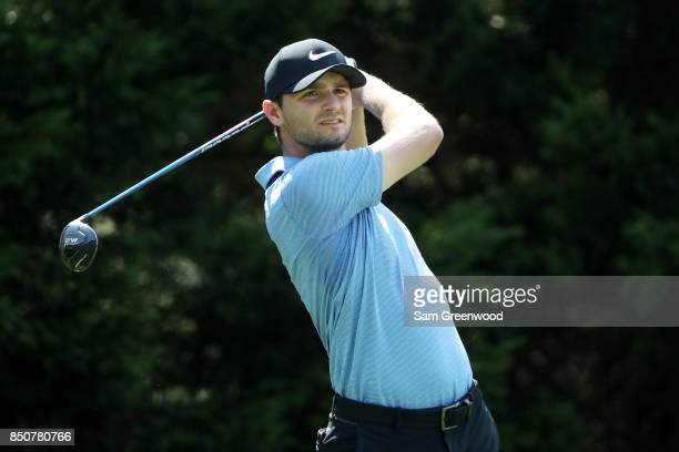 Kyle Stanley of the United States plays his shot from the eighth tee during the first round of the TOUR Championship at East Lake Golf Club on...