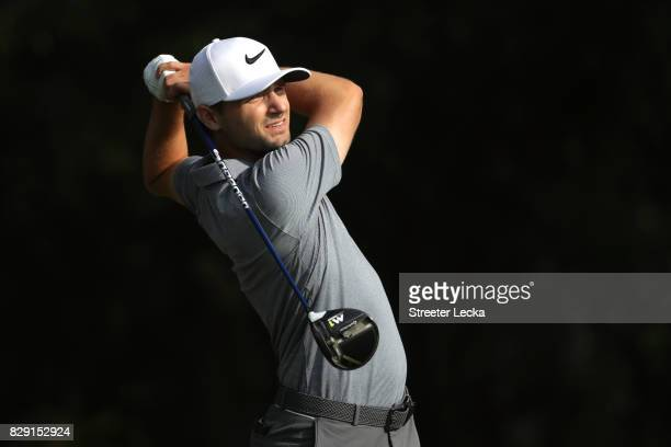 Kyle Stanley of the United States plays his shot from the fifth tee during the first round of the 2017 PGA Championship at Quail Hollow Club on...