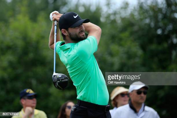 Kyle Stanley of the United States plays his shot from the second tee during the final round of the Quicken Loans National on July 2 2017 TPC Potomac...