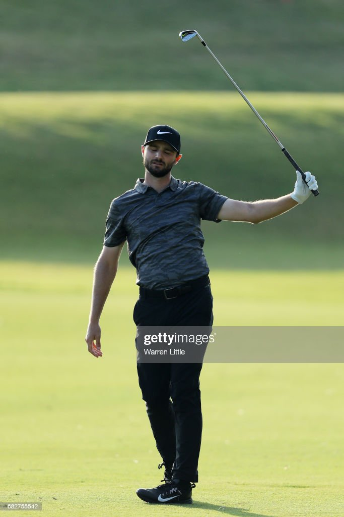 Kyle Stanley of the United States reacts to his second shot on the 16th hole during the third round of THE PLAYERS Championship at the Stadium course at TPC Sawgrass on May 13, 2017 in Ponte Vedra Beach, Florida.