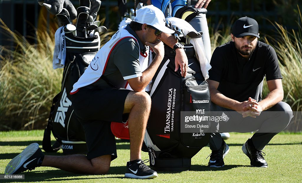 Kyle Stanley of the United States talks with his caddie on the third tee during the third round of the Shriners Hospitals For Children Open on November 5, 2016 in Las Vegas, Nevada.