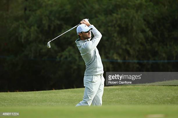 Kyle Stanley of the USA plays a shot during day two of the Australian Masters at The Metropolitan Golf Course on November 21 2014 in Melbourne...