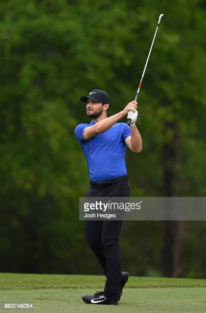 Kyle Stanley plays his second shot from the fairway on the second hole during the final round of the Shell Houston Open at the Golf Club of Houston...
