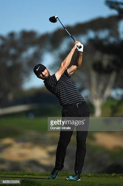 Kyle Stanley plays his shot from the fifth tee during the final round of the Farmers Insurance Open at Torrey Pines South on January 29 2017 in San...