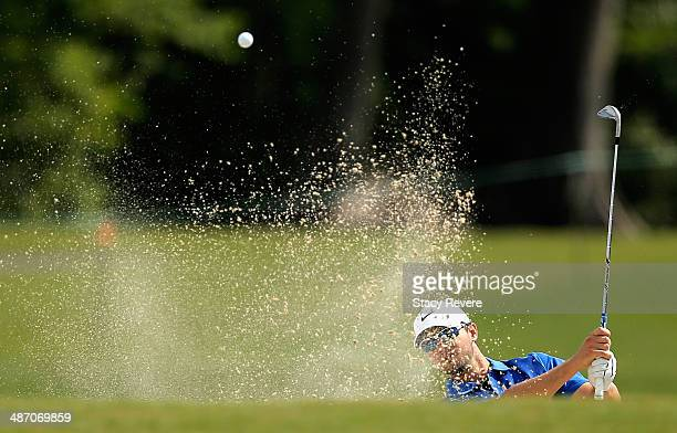 Kyle Stanley takes his shot out of the bunker on the 2nd during the Final Round of the Zurich Classic of New Orleans at TPC Louisiana on April 27...