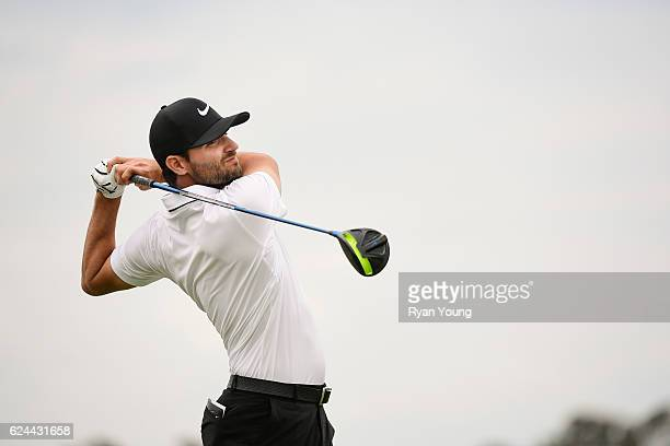 Kyle Stanley tees off on the 15th hole during the third round of The RSM Classic at Sea Island Resort Seaside Course on November 19 2016 in Sea...