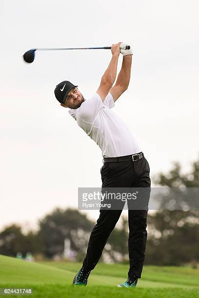 Kyle Stanley tees off on the 16th hole during the third round of The RSM Classic at Sea Island Resort Seaside Course on November 19 2016 in Sea...