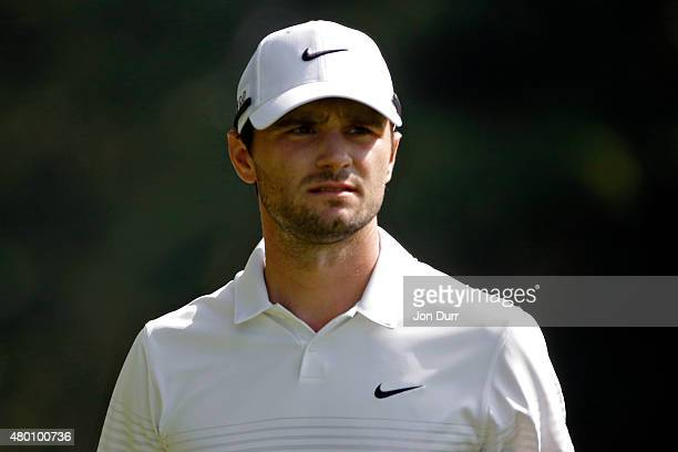 Kyle Stanley watches his shot on the eighth fairway during the first round of the John Deere Classic at TPC Deere Run on July 9 2015 in Silvis...