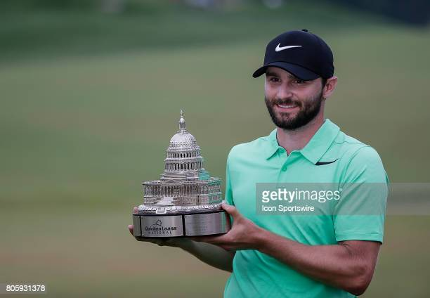 Kyle Stanley with the trophy after the final round of the Quicken Loans National on July 02 2017 at TPC Potomac at Avenel Farm in Potomac MD