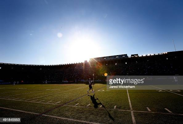 Kyle Sweeney of the Boston Cannons catches the ball in the first half against the Charlotte Hounds during the game at Harvard Stadium on May 17 2014...