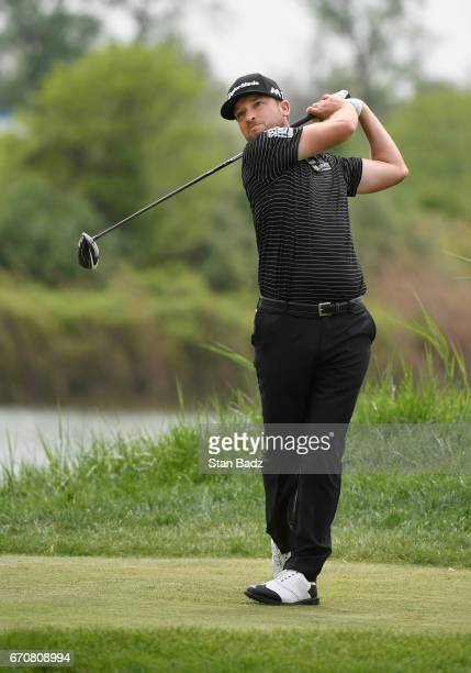Kyle Thompson hits a drive on the eighth hole during the first round of the Webcom Tour United Leasing Finance Championship at Victoria National Golf...