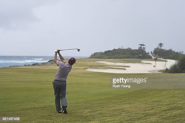 Kyle Thompson hits an approach shot on the 12th hole during the final round of The Bahamas Great Exuma Classic at Sandals Emerald Bay Course on...