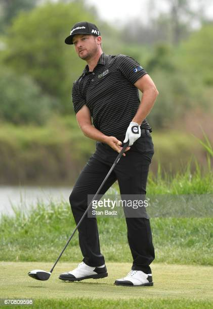 Kyle Thompson watches his drive on the eighth hole during the first round of the Webcom Tour United Leasing Finance Championship at Victoria National...