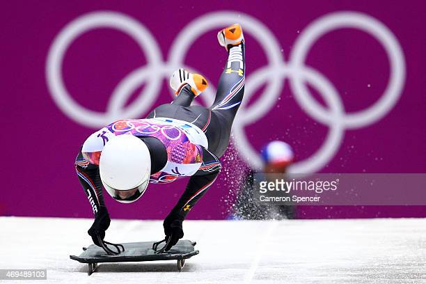Kyle Tress of the United States makes a run during the Men's Skeleton on Day 8 of the Sochi 2014 Winter Olympics at Sliding Center Sanki on February...