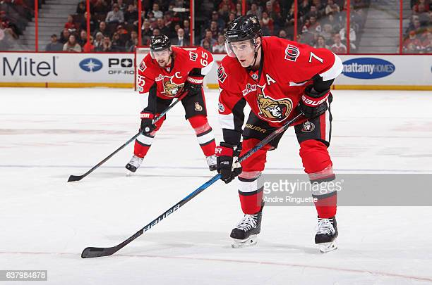 Kyle Turris and Erik Karlsson of the Ottawa Senators prepare for a faceoff against against the Washington Capitals at Canadian Tire Centre on January...