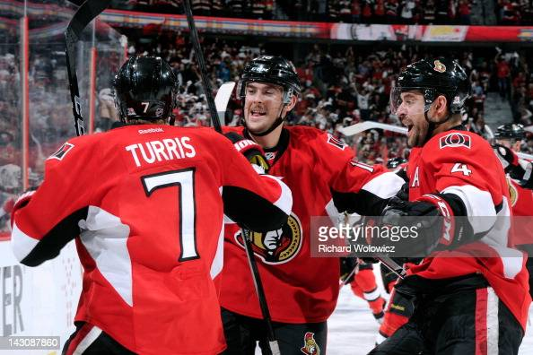 Kyle Turris of the Ottawa Senators celebrates his overtime game winning goal against the New York Rangers in Game Four of the Eastern Conference...