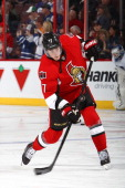 Kyle Turris of the Ottawa Senators fires the puck during warmup prior to their game against the Toronto Maple Leafs on April 12 2014 at Canadian Tire...