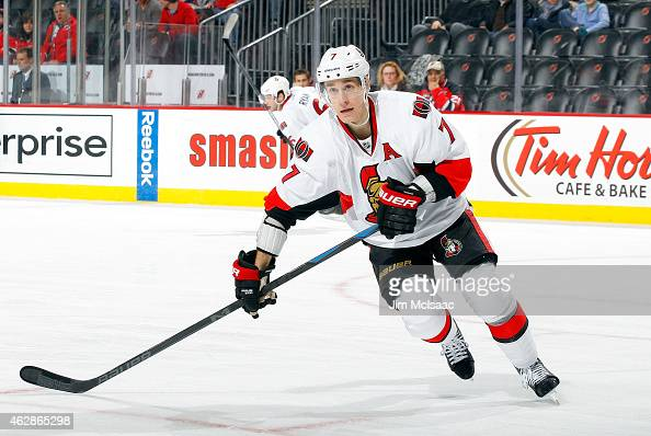 Kyle Turris of the Ottawa Senators in action against the New Jersey Devils at the Prudential Center on February 3 2015 in Newark New Jersey The...