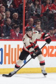 Kyle Turris of the Ottawa Senators looks before making a pass against the Montreal Canadiens during an NHL game at Canadian Tire Centre on April 4...