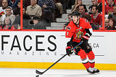 Kyle Turris of the Ottawa Senators moves the puck in Game Six of the Eastern Conference Quarterfinals against the Montreal Canadiens during the 2015...