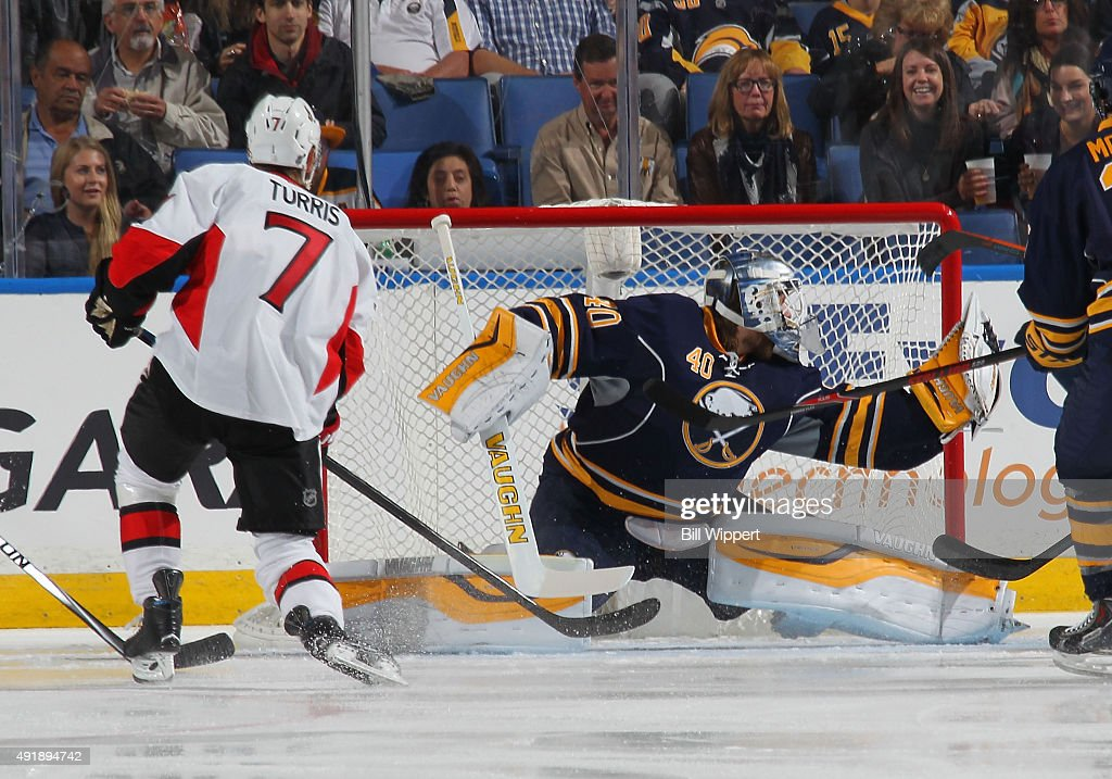 Kyle Turris of the Ottawa Senators scores a goal in the first minute of play of the first period against Robin Lehner of the Buffalo Sabres on...