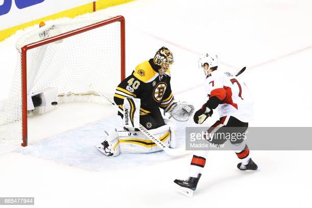 Kyle Turris of the Ottawa Senators scores the game winning goal against Tuukka Rask of the Boston Bruins during a shoot out at TD Garden on April 6...