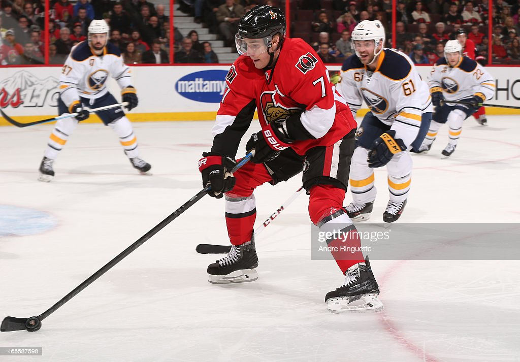 Kyle Turris of the Ottawa Senators skates against the Buffalo Sabres at Canadian Tire Centre on March 6 2015 in Ottawa Ontario Canada