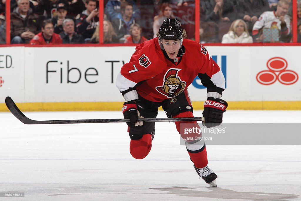 Kyle Turris #7 of the Ottawa Senators skates against the Buffalo Sabres during an NHL game at Canadian Tire Centre on February 6, 2014 in Ottawa, Ontario, Canada.