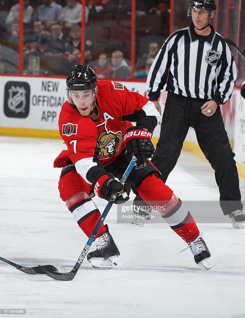 Kyle Turris of the Ottawa Senators skates against the Buffalo Sabres at Canadian Tire Centre on February 16 2016 in Ottawa Ontario Canada