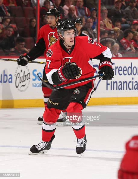 Kyle Turris of the Ottawa Senators skates against the Detroit Red Wings at Canadian Tire Centre on November 4 2014 in Ottawa Ontario Canada