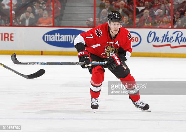 Kyle Turris of the Ottawa Senators skates against the Detroit Red Wings at Canadian Tire Centre on February 20 2016 in Ottawa Ontario Canada