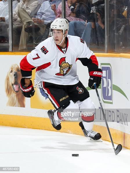 Kyle Turris of the Ottawa Senators skates against the Nashville Predators at Bridgestone Arena on October 9 2014 in Nashville Tennessee