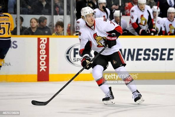 Kyle Turris of the Ottawa Senators skates against the Nashville Predators at Bridgestone Arena on January 11 2014 in Nashville Tennessee