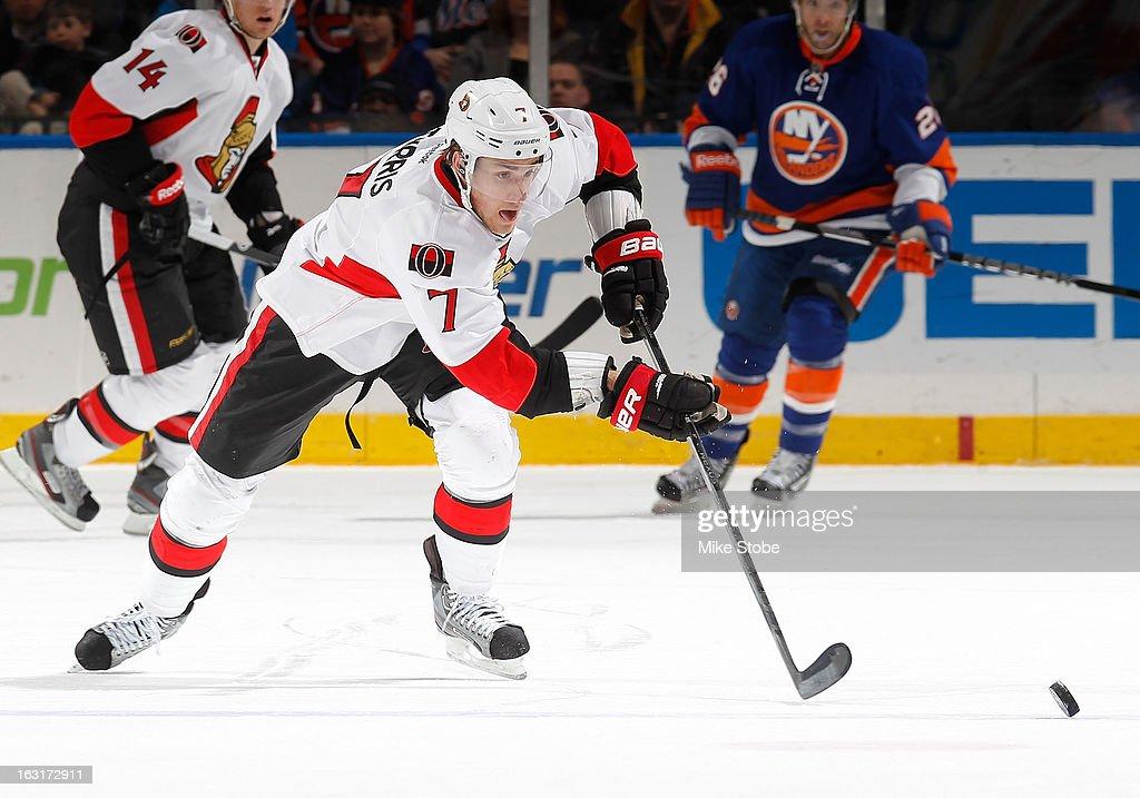 Kyle Turris #7 of the Ottawa Senators skates against the New York Islanders at Nassau Veterans Memorial Coliseum on March 3, 2013 in Uniondale, New York. The Islanders defeated the Senators 3-2 in a shootout.