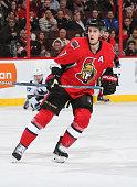 Kyle Turris of the Ottawa Senators skates against the San Jose Sharks at Canadian Tire Centre on December 18 2015 in Ottawa Ontario Canada